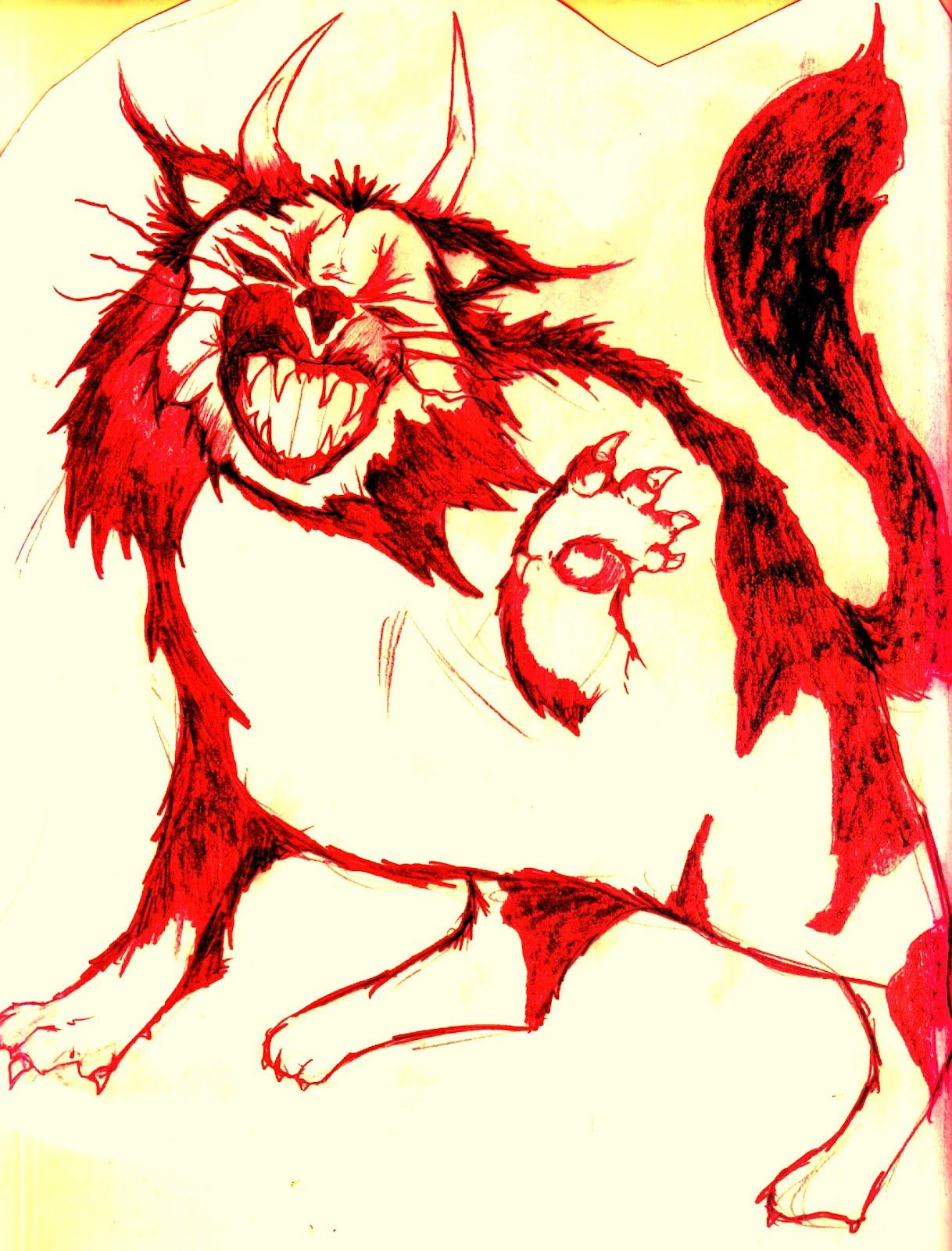 The Horned Demon cat, a huge hairy beast with tabbylike