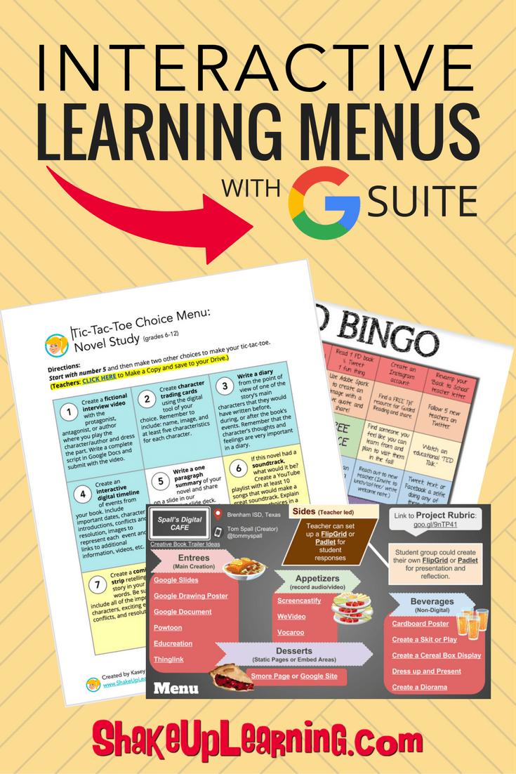 Interactive Learning Menus (Choice Boards) Using Google Docs #menus