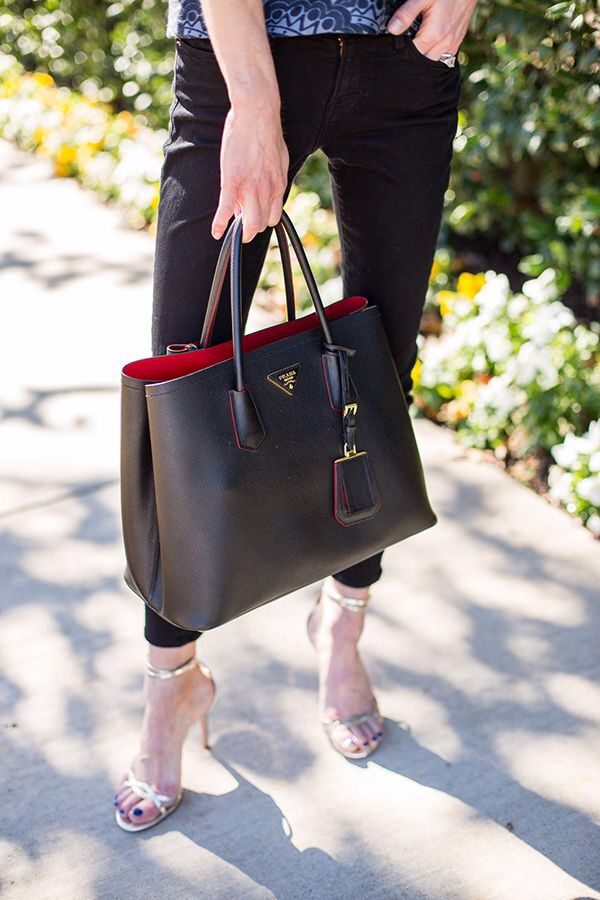 Prada Black Designer handbag shoulder bag. Love the pop of red on the inside . 251d625533