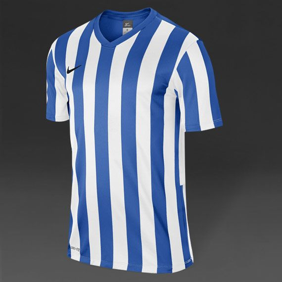 Nike Striped Division S/S Football Shirt - Blue/Wht