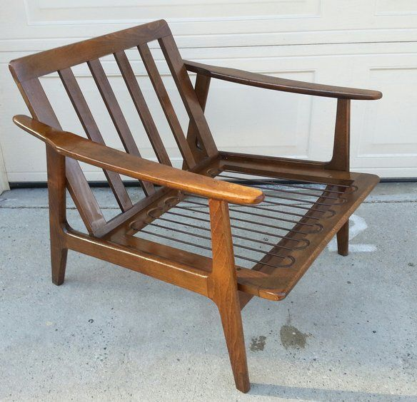 mid century modern danish teak wood lounge chair