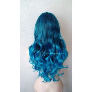 Pastel Teal blue ombre wig. Long curly hair long side bangs teal blue ombre colored wig.