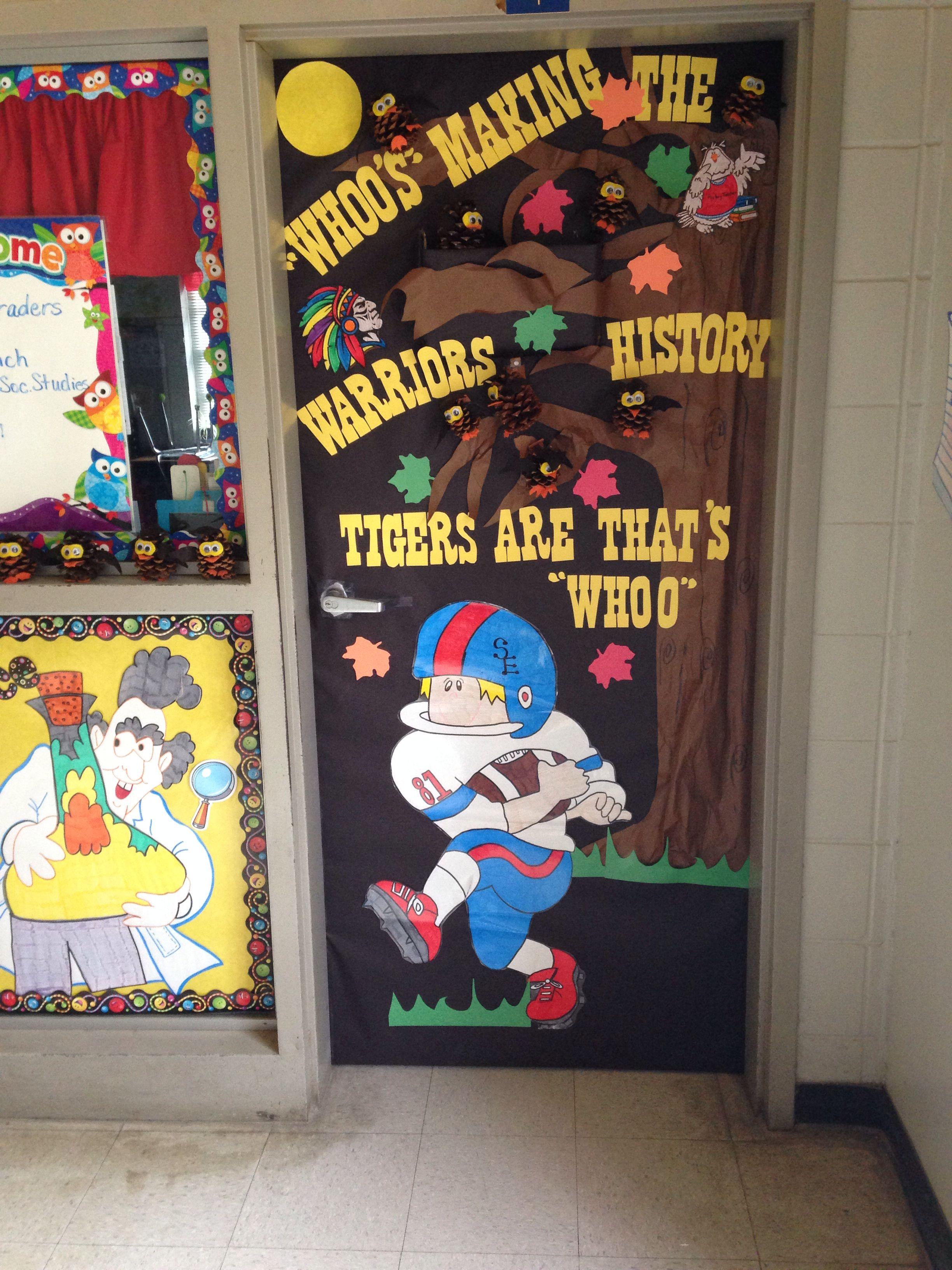 homecoming classroom door decoration high school life pinterest