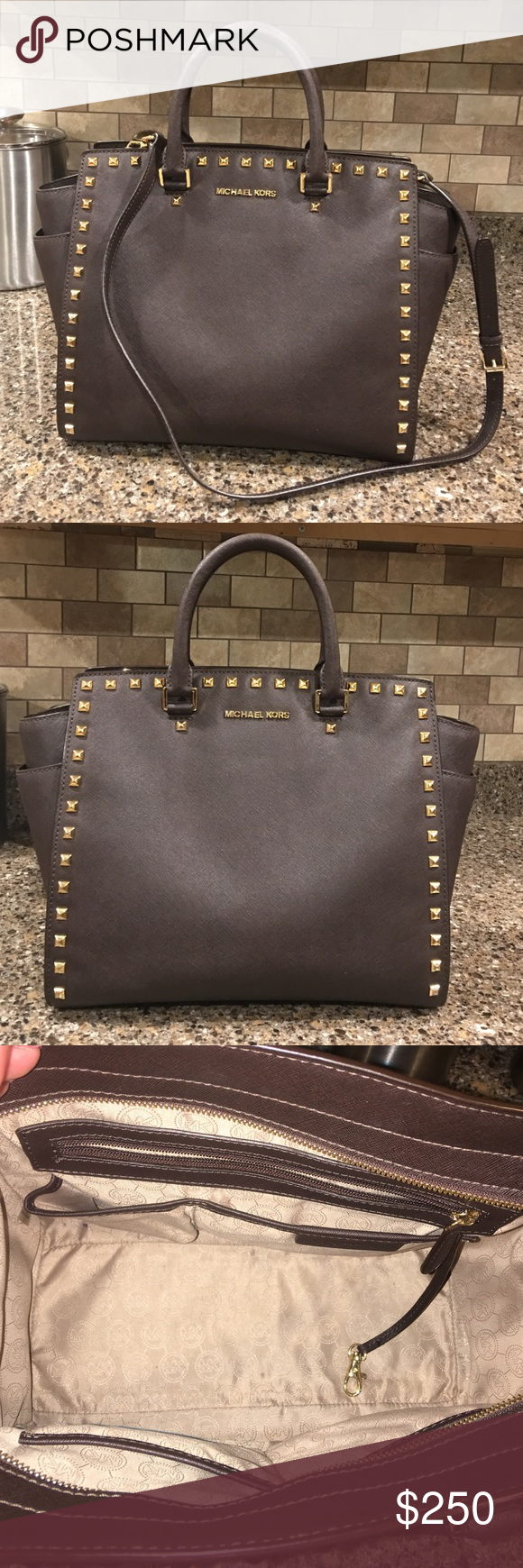 Michael Kors Large Studded Selma Saffiano Satchel My Posh Picks Leather Coklat This Is A Gorgeous Chocolate Brown Bag With Gold