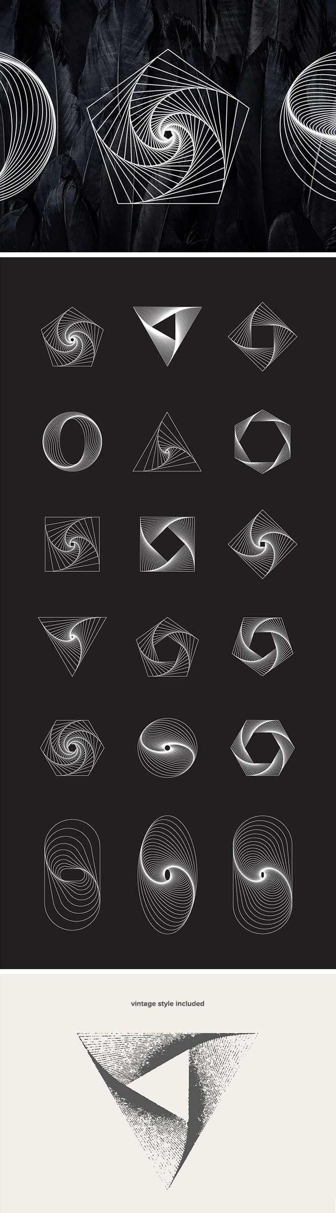 18 #free Geometric Line Art Vectors Get a set of 18 #geometric line art #objects in vector format. Give your design project a perfectly calculated geometrical touch with these beautiful illustrations in 2 styles: solid and grungy. The freebie comes in easily adjustable vector formats (Ai + EPS) and high-resolution JPG and transparent PNG formats.