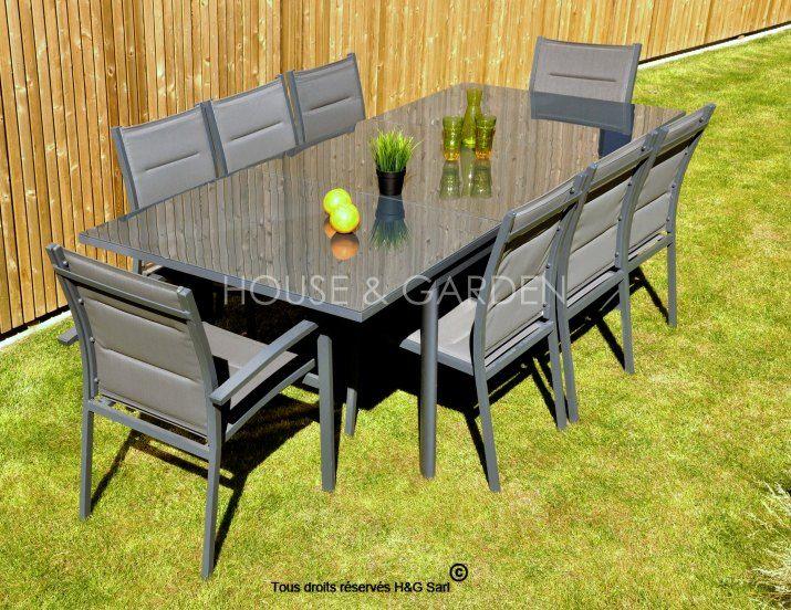 Ce #salon de jardin en aluminium peut accueillir jusqu\'à 8 ...