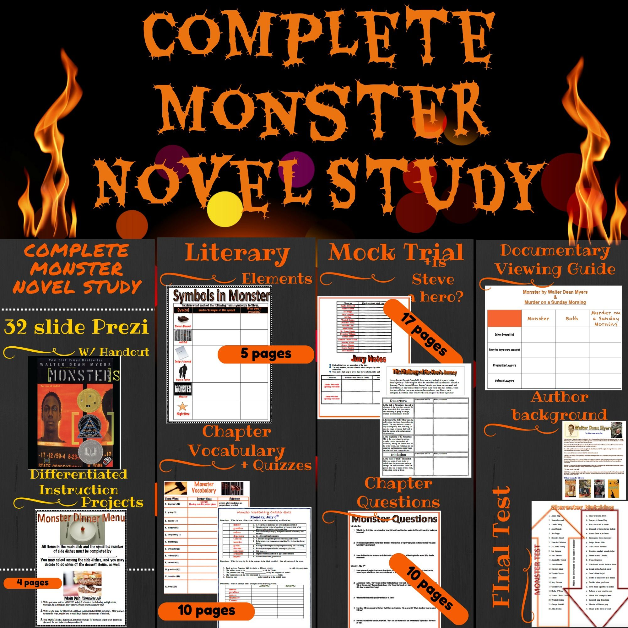 Monster by Walter Dean Myers Complete Novel Study | 5th ...