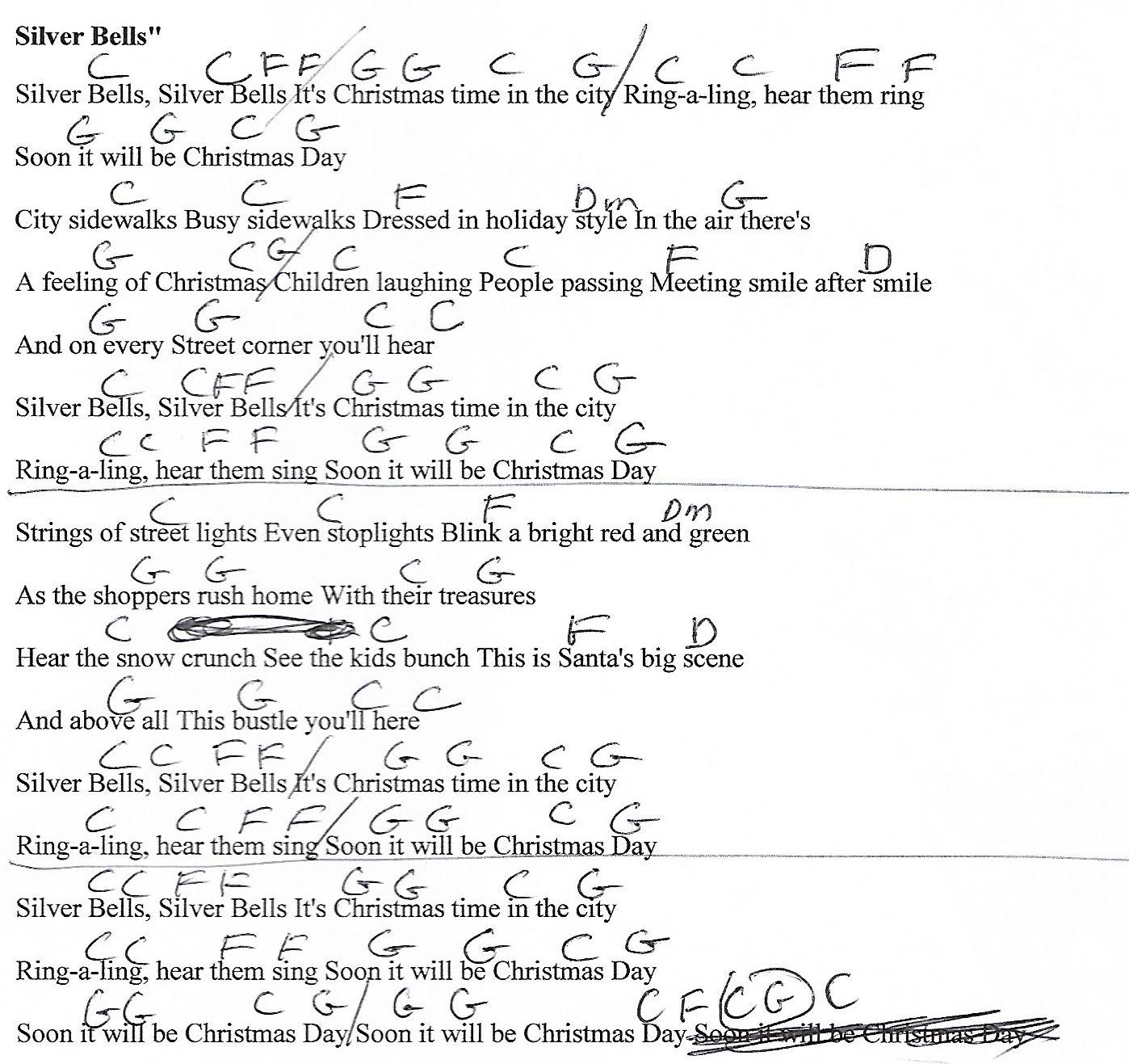 Silver Bells Christmas C Major Guitar Chord Chart With Lyrics