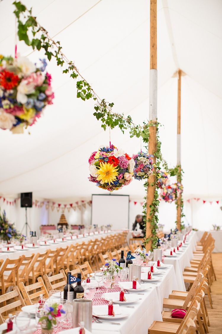 Country Rustic Picnic Marquee Wedding | Marquee wedding, Flower ball ...