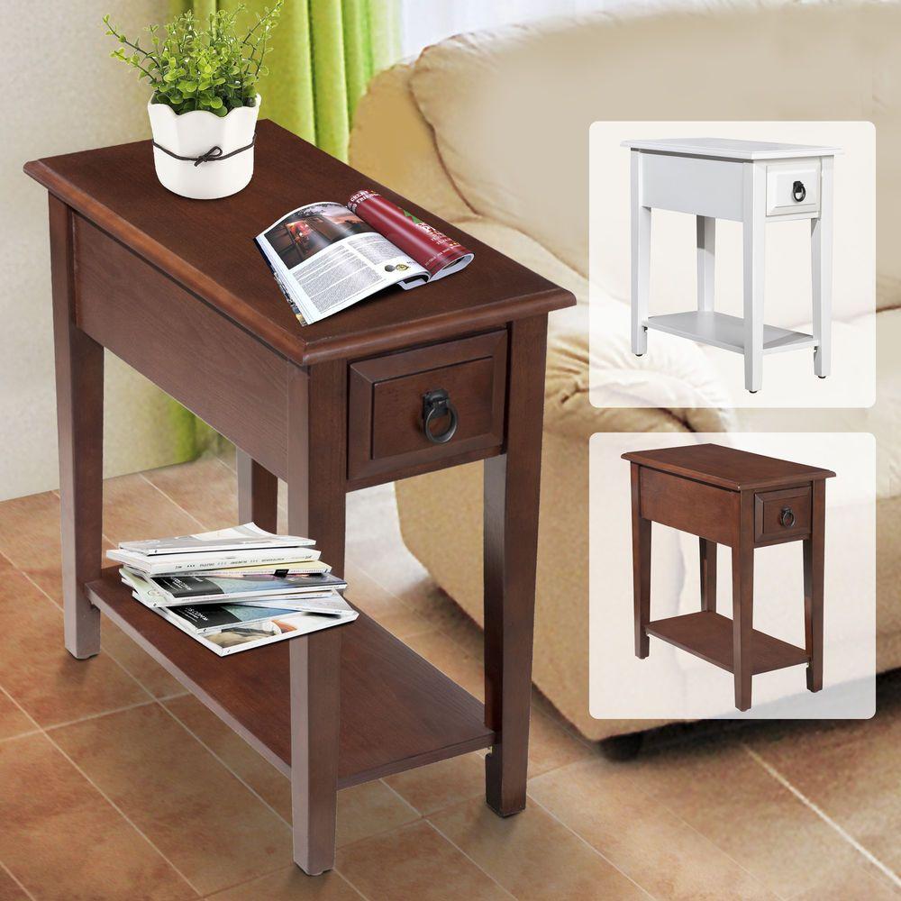Modern tier acacia wood end table side desk living room oraganizer