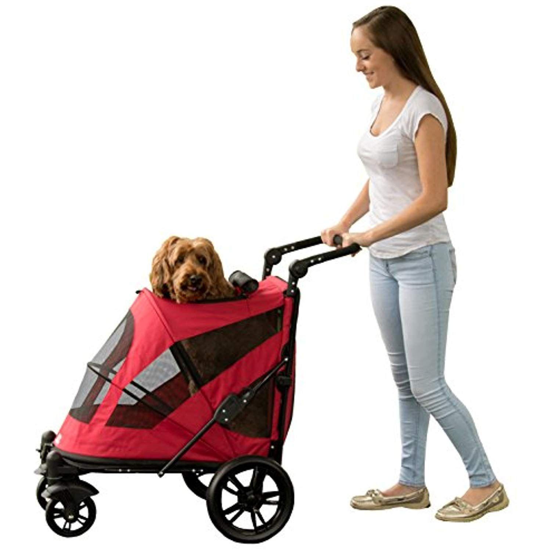 Pet Gear NOZip Stroller, Push Button Zipperless Dual