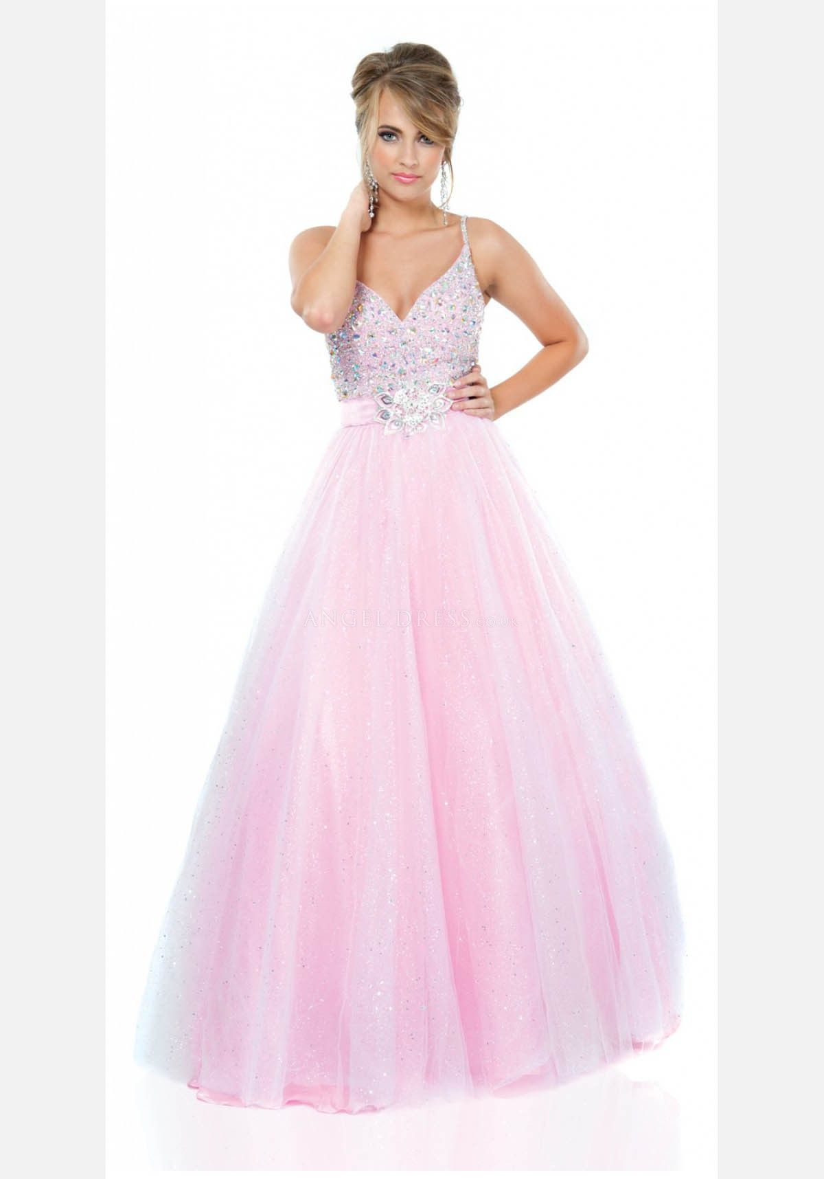 Tulle Natural Waist Spaghetti Straps Sleeveless Ball Gown Prom Gowns ...