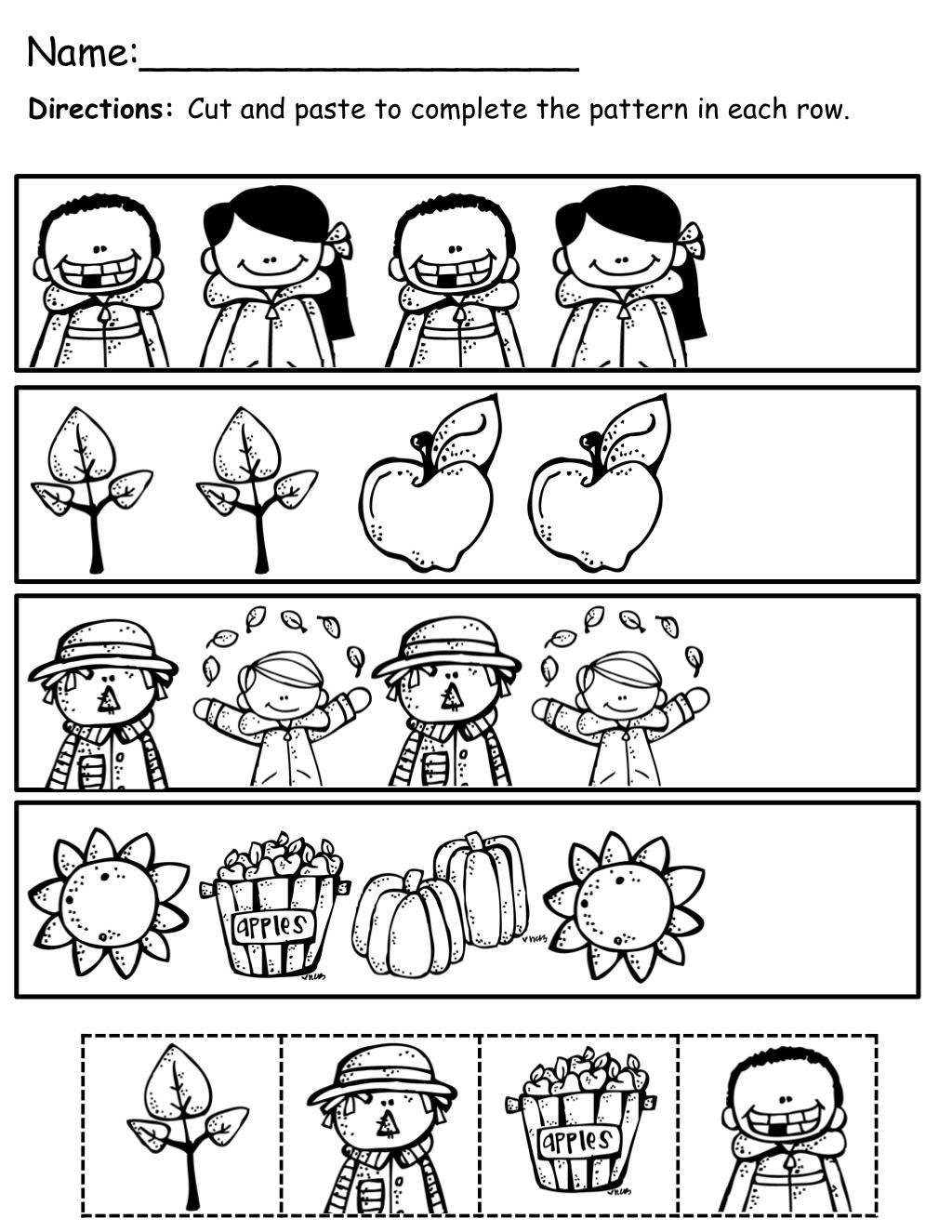 The Moffatt Girls Fall Math And Literacy Packet Kindergarten Fall Kindergarten Preschool Worksheets Math Patterns [ 1325 x 1024 Pixel ]