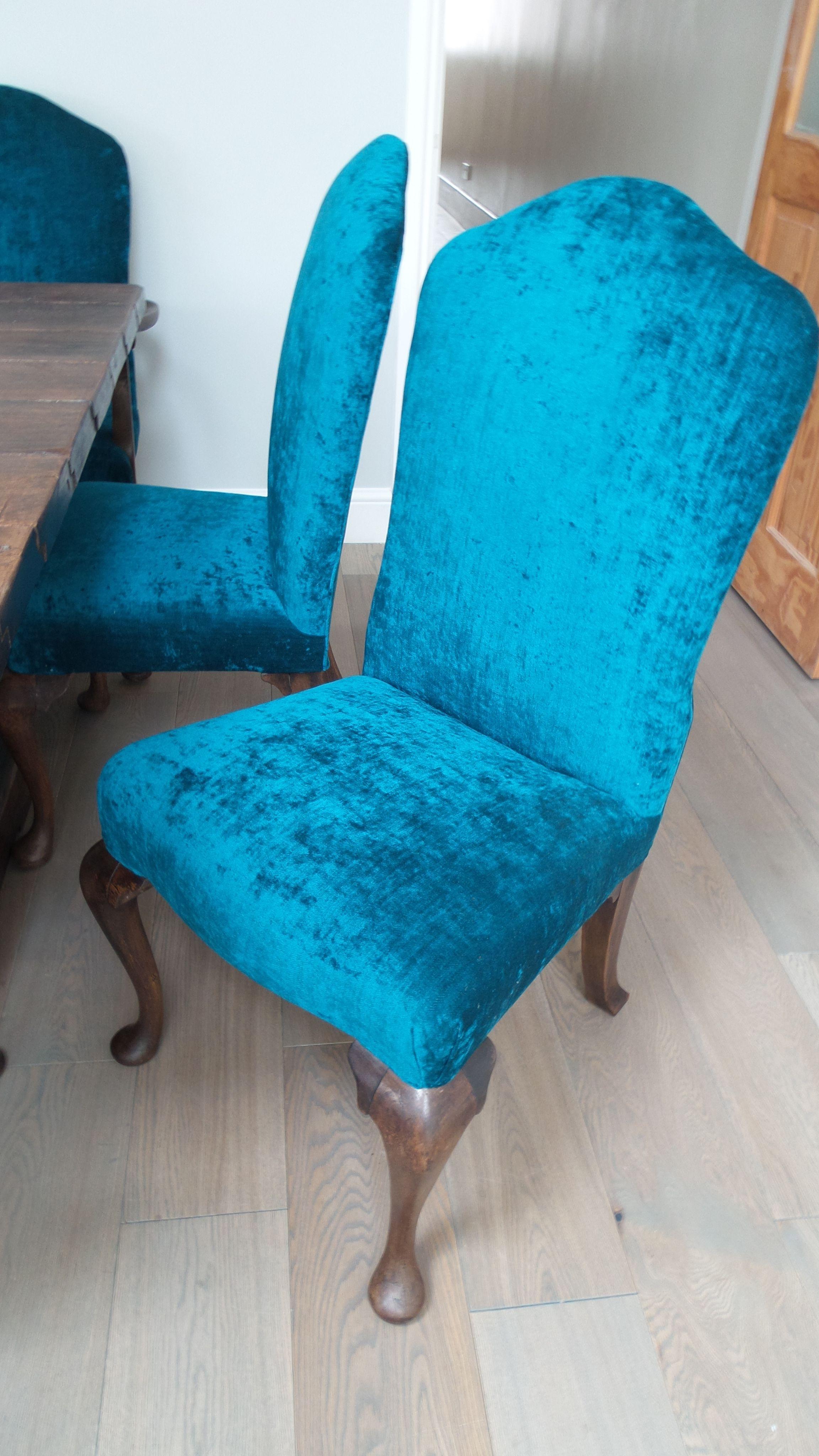 Bespoke dining chairs upholstered in stunning teal velvet by Rachel Berger Interiors