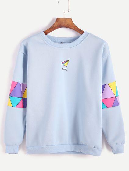 Pale Blue Patchwork Print Sweatshirt