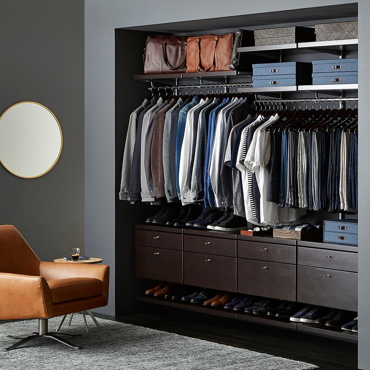 Elfa Decor 8 Walnut Platinum Men S Reach In Closet Custom Closet Shelving No Closet Solutions Closet Shelving System