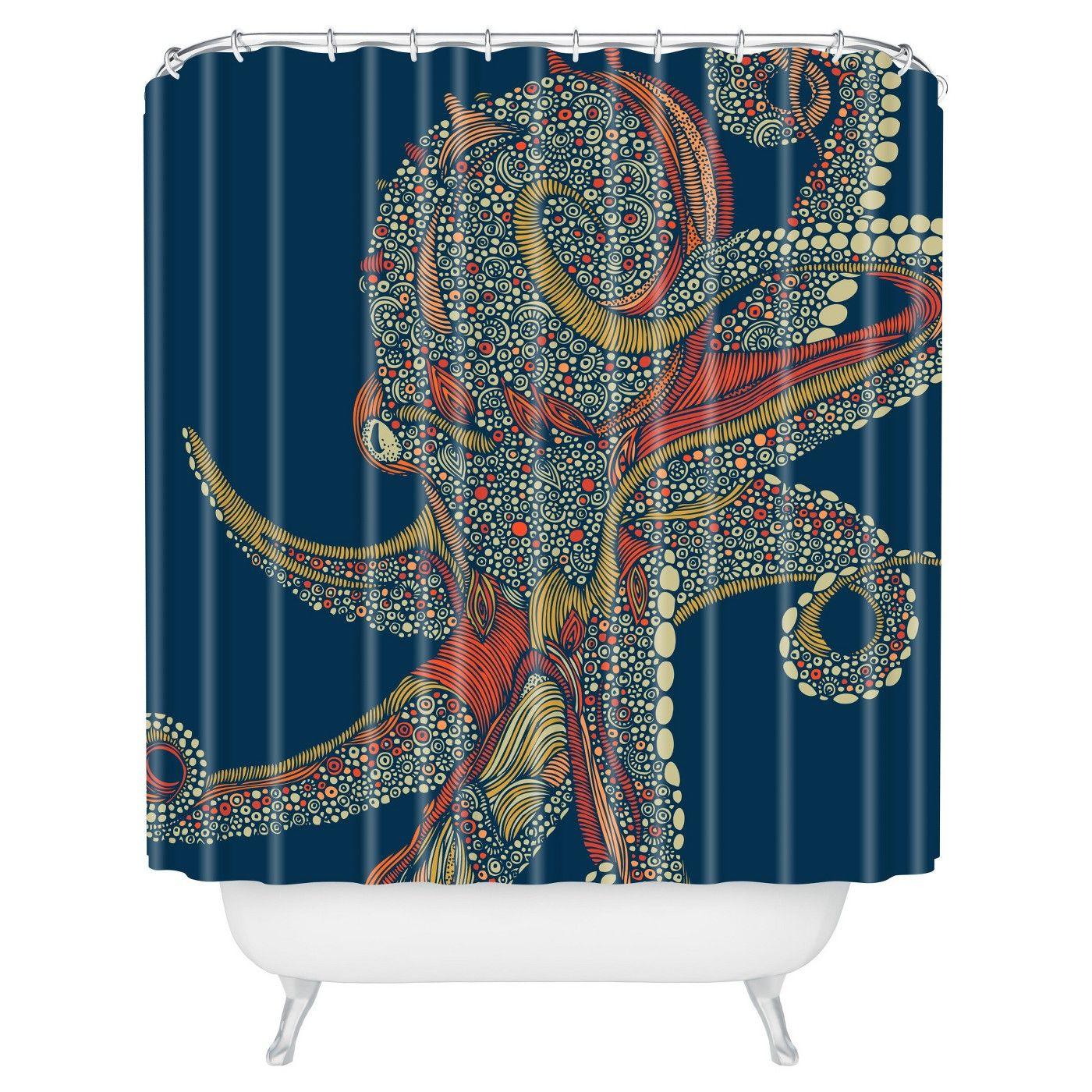 Valentina Ramos Azzuli Shower Curtain Navy Deny Designs