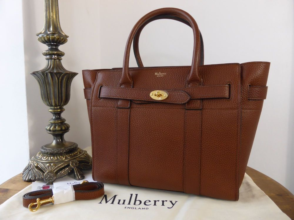 Mulberry Small Zipped Bayswater in Oak Natural Grain