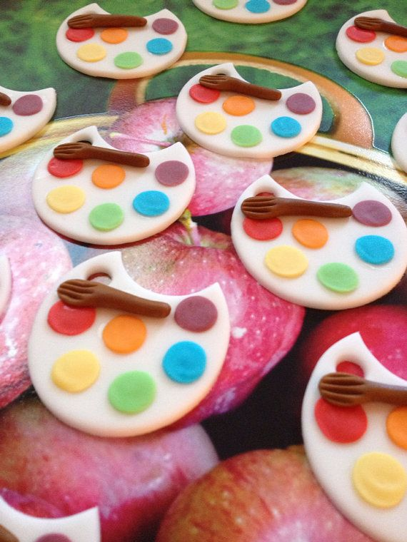 Artist Paint Palette Fondant Cupcake Cookie Toppers ...