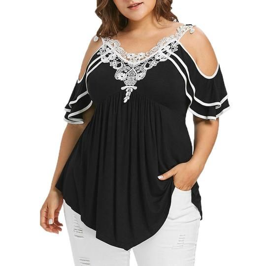 eabf9addee9a18 Plus Size 5XL Summer Womens Tops and Blouses 2018 Streetwear Lace Cold –  rricdress