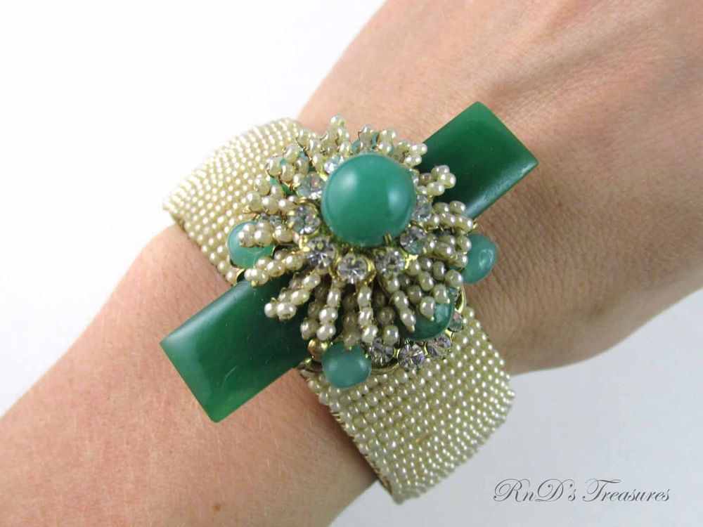 Vintage Stanley Hagler N.Y.C Seed Pearl Green Lucite & Rhinestone Bracelet