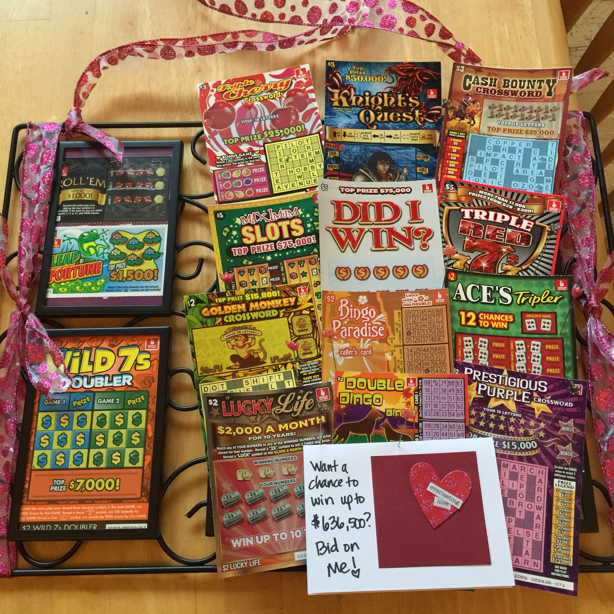 Lottery Tickets on a cork board picture frame...bid for a chance to get lucky!!