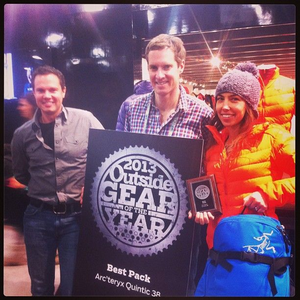 Our pack designer Christen receiving @Outside Magazine Gear of the Year award for the Quintic Pack.