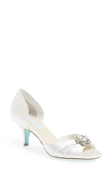 Betsey Johnson Stun Sandal Women White Wedding Shoes Low Heel Fun Wedding Shoes Blue Bridal Shoes