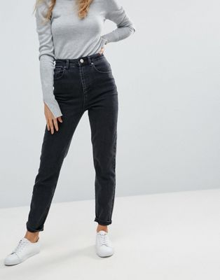 ASOS FARLEIGH High Waist Slim Mom Jeans In Washed Black   Autumn ... 0a0172a93034