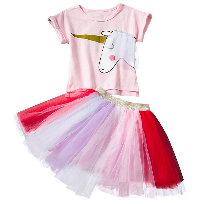 7730ae64f73 Unicorn Party Dress New Summer Children Tutu Dress Outfits T-Shirts Veil Dresses  for Girls Kids Casual Clothes 2 3 4 5 6 Years