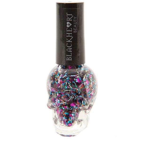 Blackheart Multi Glitter Nail Polish   Hot Topic (7.27 CAD) ❤ liked on Polyvore featuring beauty products, nail care, nail polish and nails