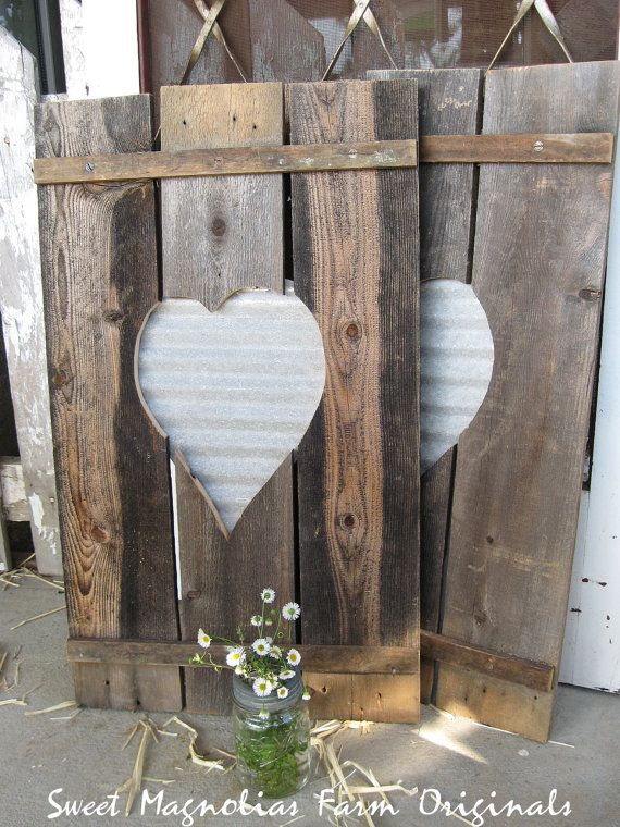 Wood Shutters Corrugated Metal Heart By Sweetmagnoliasfarm Corrugated Tin Corrugated Metal Barn Wood Crafts