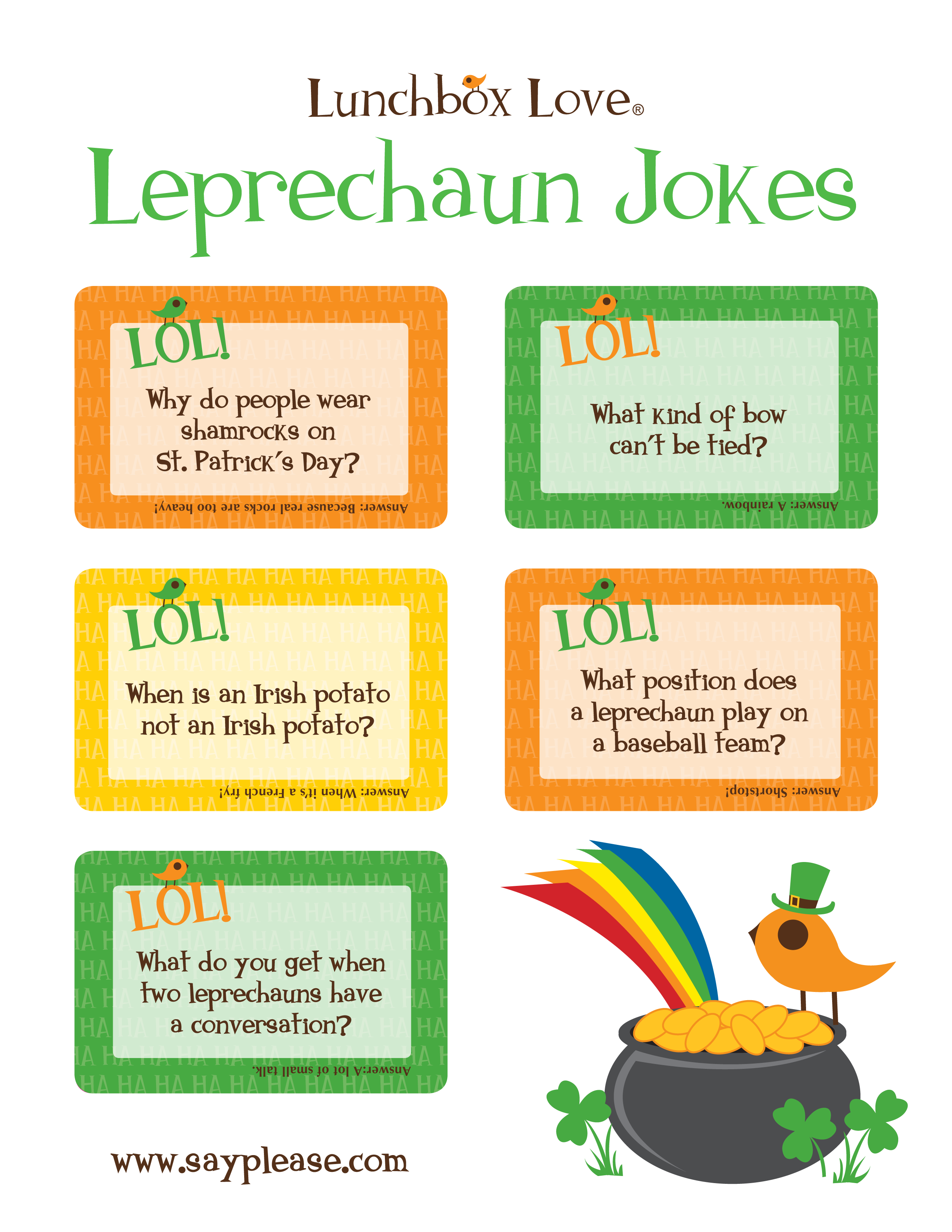 Uncategorized St Patricks Day Jokes For Kids whats your leprechaun name this is a fun st patricks day stpatricksday see more free joke printables perfect for lunches leading up to the holiday or spread