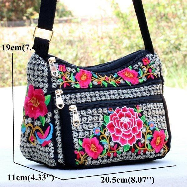 Canvas National Style Flower Pattern Crossbody Bag Shoulder Bags For ...