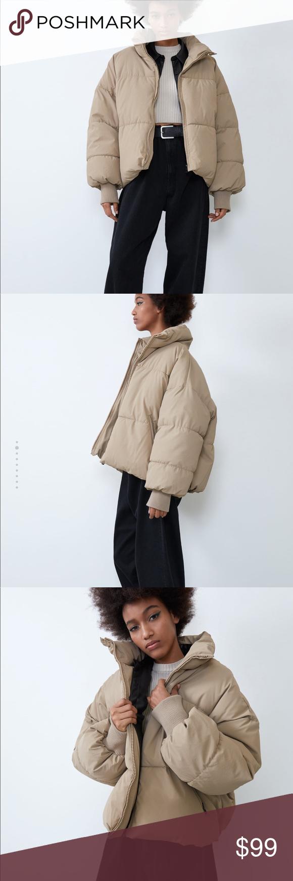 Zara Oversized Puffer Jacket Coat S Khaki Recycled Jackets Oversized Puffer Jacket Zara [ 1740 x 580 Pixel ]