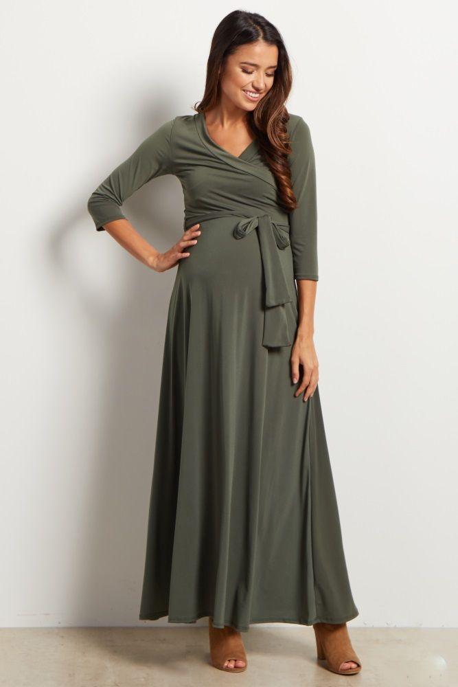 cf9c6c9522 Olive Green Draped 3/4 Sleeve Maternity Maxi Dress in 2019 | Cloth ...