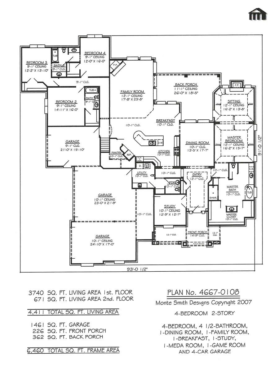 1 1 2 story 4 bedroom 4 1 2 bathroom 1 dining room 1 for 2 bedroom house plans with garage and basement