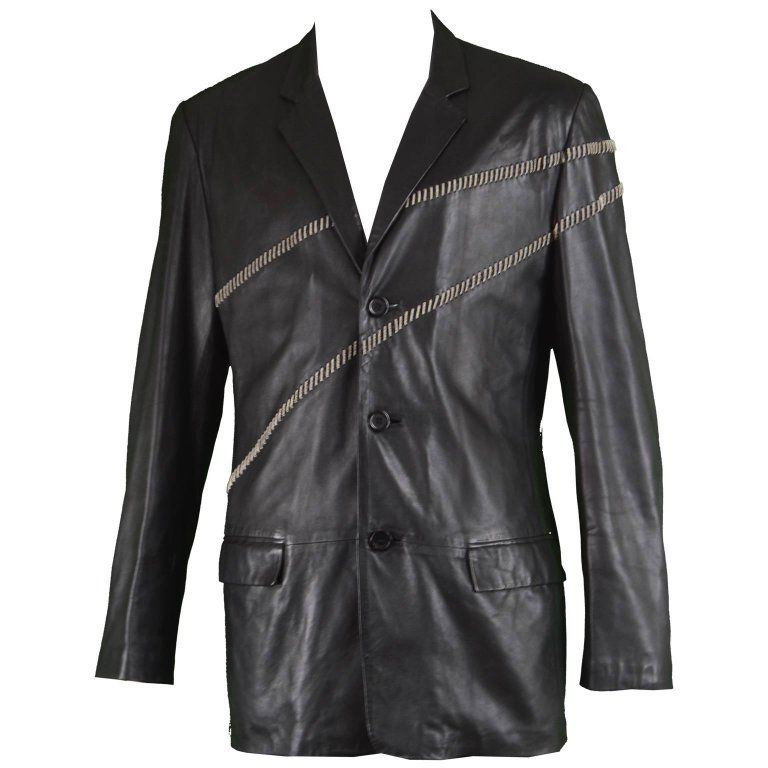 Gianni Versace Blazer Vintage Men Leather Chain