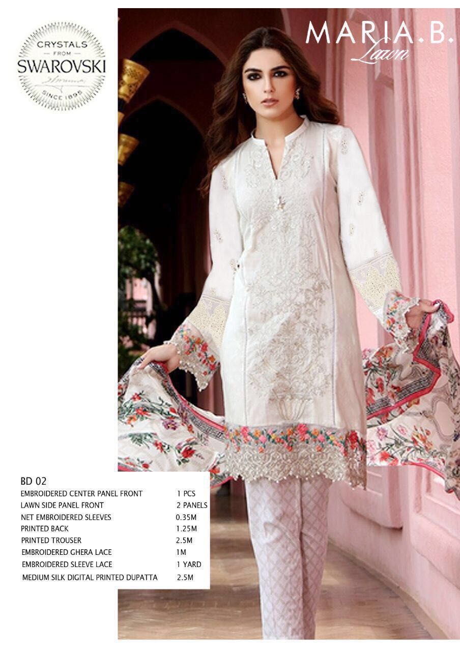Maria B Original Latest Lawn suit With Silk Dupata-Unstiched Suit-Pakistani Wear
