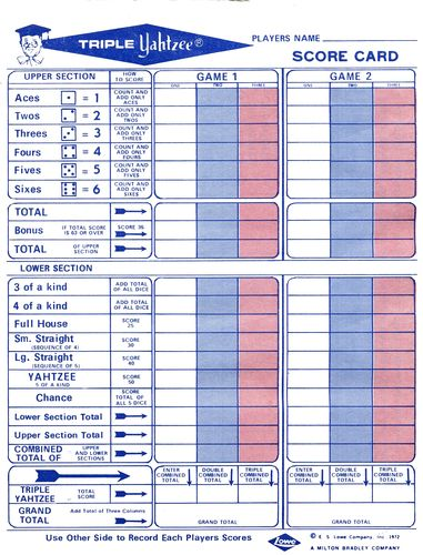 Triple Yahtzee Image BoardGameGeek Games Pinterest - sample yahtzee score sheet