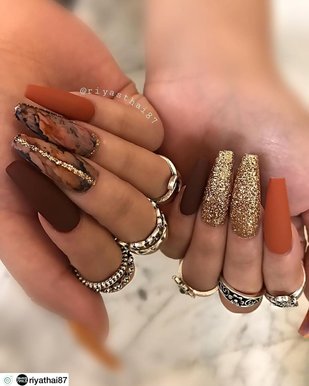 Perfect Nails On Instagram Deluxe Fall Nail Design Follow Us Luxnails4ever L Fall Acrylic Nails Cute Acrylic Nails Simple Fall Nails