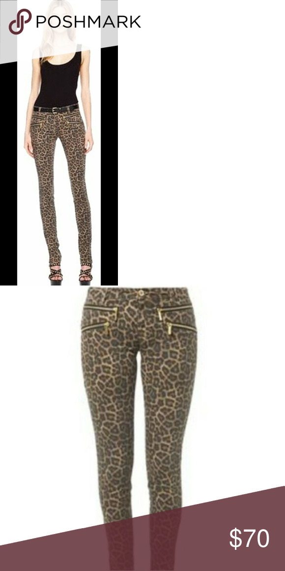5884cbff9a5e Michael Kors leopard print jeans Michael kors leopard print skinny jeans  side and back pockets with zippers, ankles with side zippers, very  flattering ...