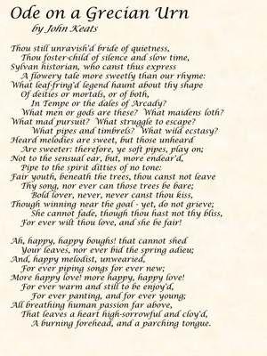 John Keats Ode On A Grecian Urn Poetry Words Keats Poems