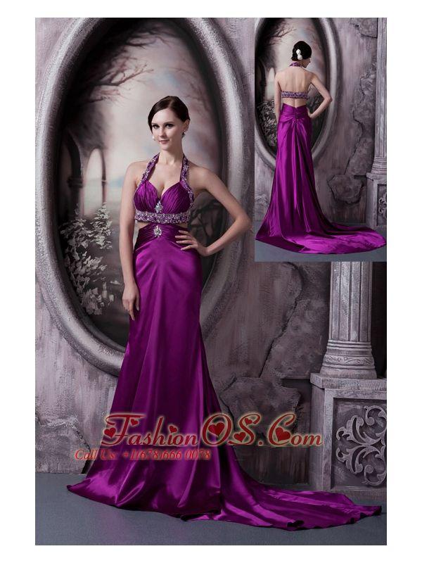 Pretty Eggplant Purple Column Halter Prom Dress Silk Like Satin ...