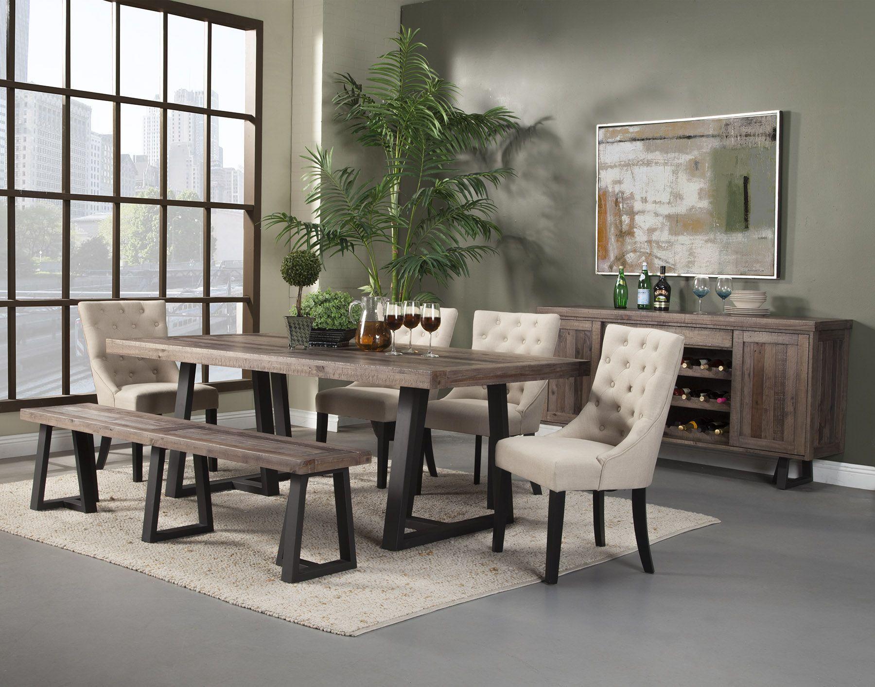 Alpine furniture prairie 7pc rectangular dining set in