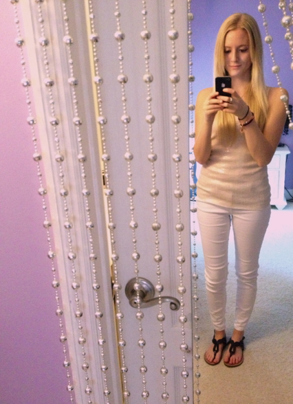 Gold sequin tank-top, white jeans, black sandals. Summer evening, 2013.