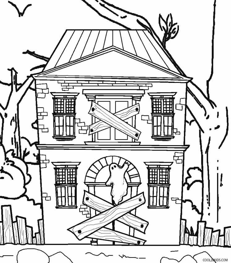 Haunted House Coloring Pages House Colouring Pages Spooky House