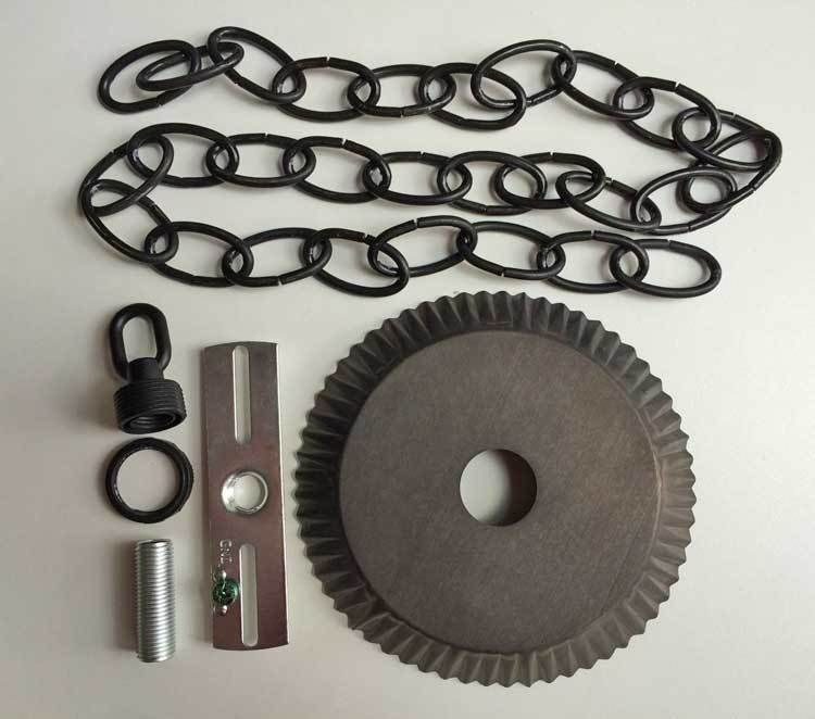 Ceiling Plate Canopy Kit w 3u0027 of Chain in Blackened Tin for Hanging Chandelier | & Ceiling Plate Canopy Kit w/ 3u0027 of Chain in Blackened Tin for ...
