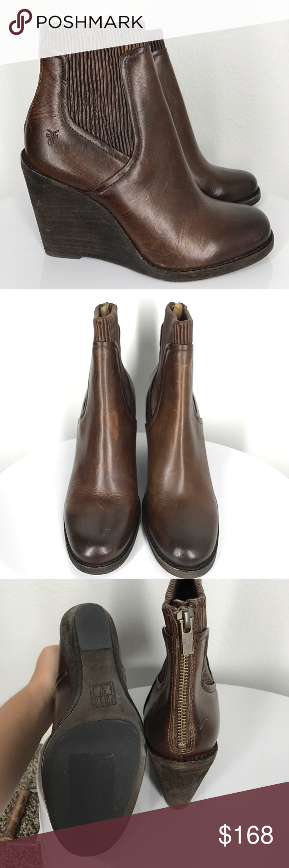 f91eef481a2a Frye Carrie scrunch ankle wedge boots size 8