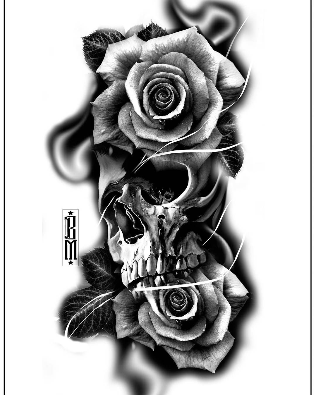 Skull Roses Rose Tattoo Design Digital Blackandgrey Bg